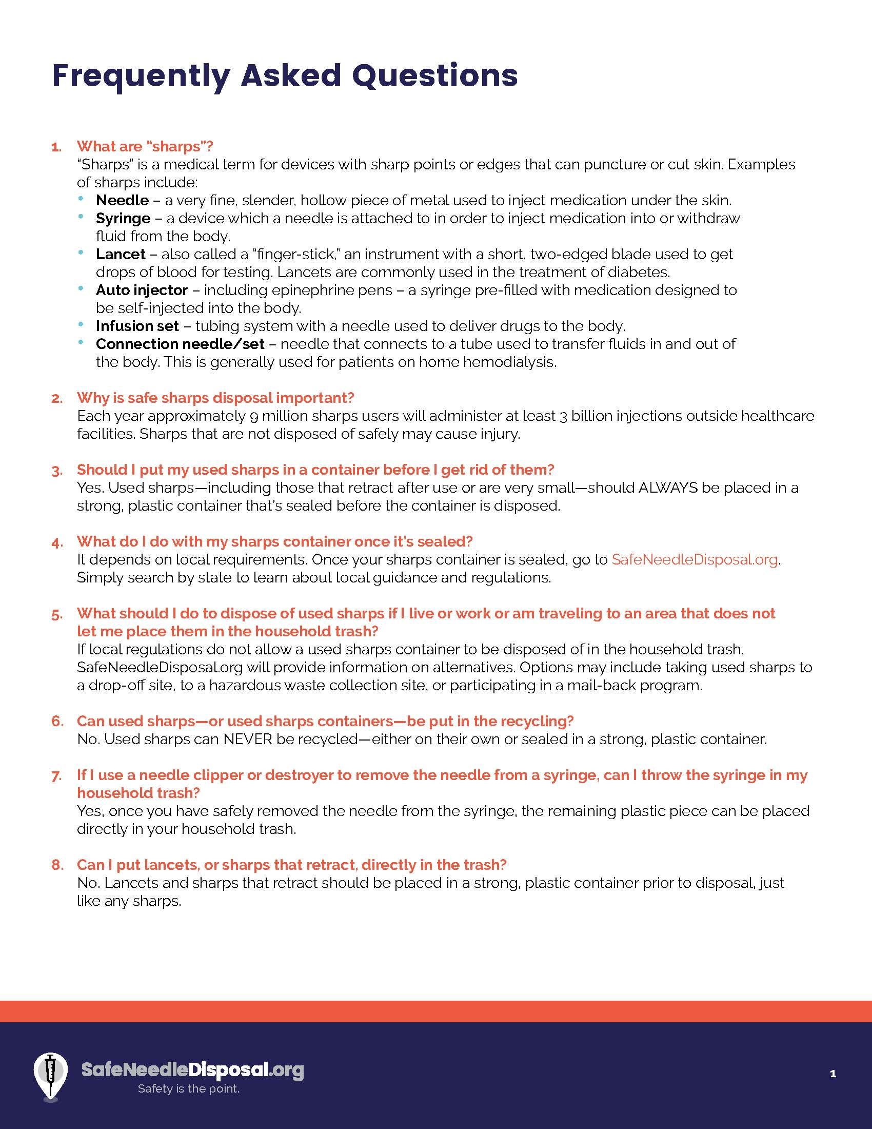 Sharps FAQs