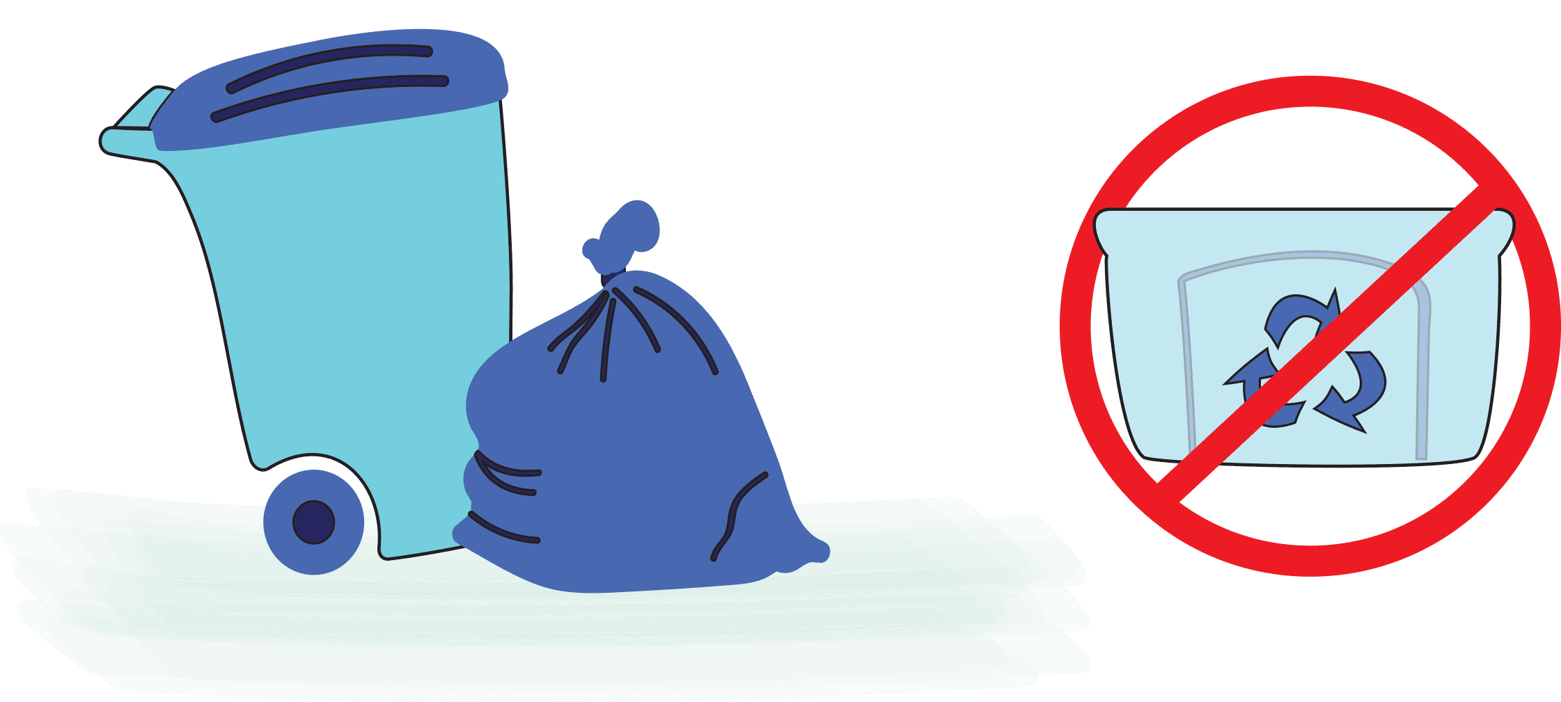 Put the plastic container in the household trash - don't recycle!